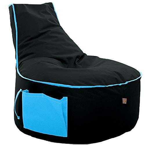 GlueckBean Hochwertiger Sitzsack mit Seitentaschen - Indoor & Outdoor - Gaming Sessel Sitzkissen mit Styroporkugeln Füllung -...