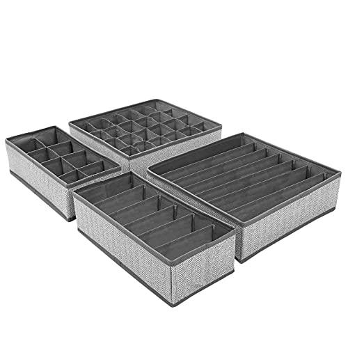 Organizador Cajones, Redmoo 4 piezas sistema de organización de cajones, caja de almacenamiento de tela plegable, ropa armario organizador de ropa interior cajas para ropa interior, calzoncillos