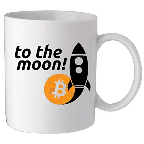 Bitcoin to the Moon Rocket Crypto Keramik Tasse Kaffeetasse Teetasse Becher Mug