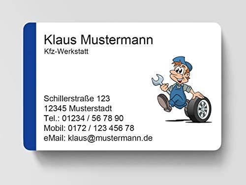 100 Visitenkarten, laminiert, 85 x 55 mm, inkl. Kartenspender - Werkstatt Kfz