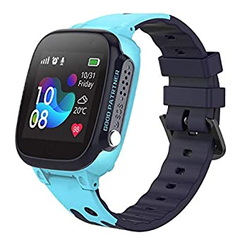 Kids Waterproof Smart Watch for Students Girls Boys Touch Screen Smartwatch with AGPS/LBS Tracker Voice Chat SOS Anti-Lost Calling Phone Watches Compatible with iOS Android