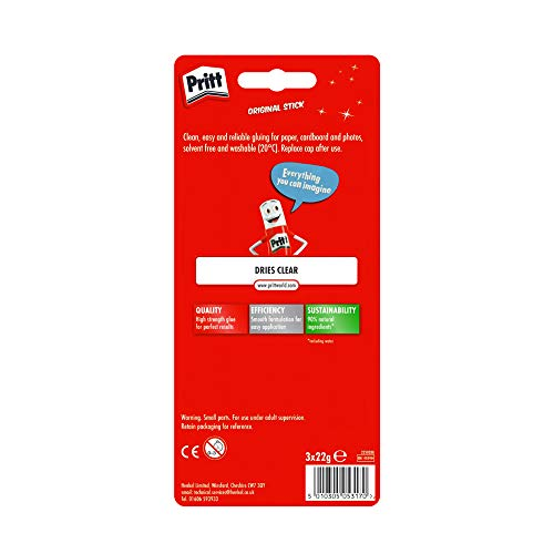 Pritt Glue Stick, Safe & Child-Friendly Craft Glue for Arts & Crafts Activities, Strong-Hold adhesive for School & Office Supplies, 3x22 g Pritt Stick