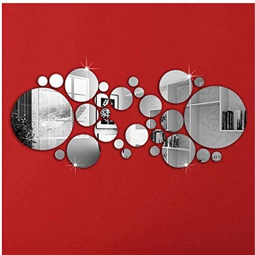 AYRSJCL 30Pcs Espejo Etiqueta de la Pared del Dormitorio del hogar Wall Sticker Oficina círculos de Plata para la decoración casera Pegatina en la Pared