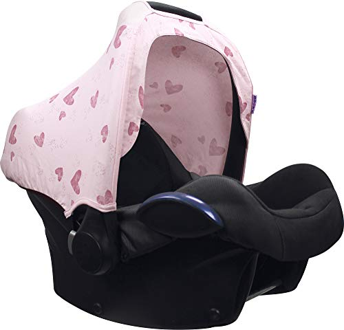 Original Dooky 126391 Hoody Sonnenschutz für Babyschale Pink Heart