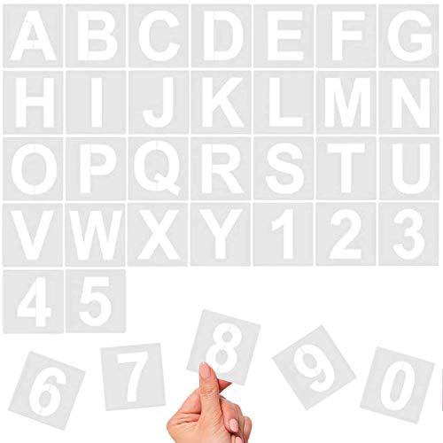 36 Stück Alphabet-Buchstaben-Schablonen, 10,2 cm, wiederverwendbare Kunststoff-Schablonen für Holz, Wand, Kreidetafel, Malen, Lernen, Heimdekoration, DIY Schule Kunst Projekte