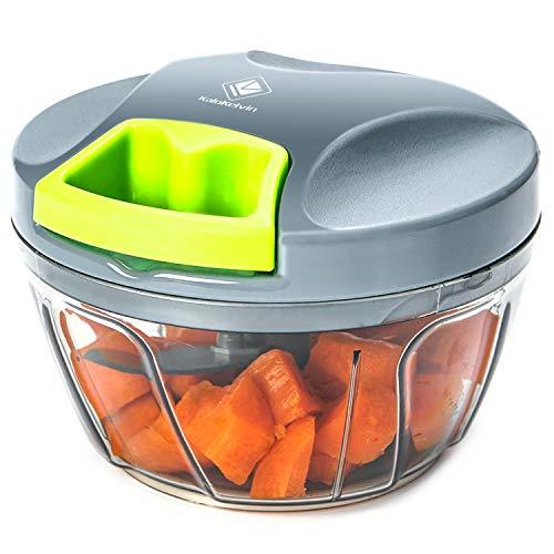 Kalokelvin Zwiebel Zerkleiner,Mini Gemüseschneider Multizerkleinerer Manuell Obst und Gemüse Schneiden Mischen mit 3 Klingen (400ML)