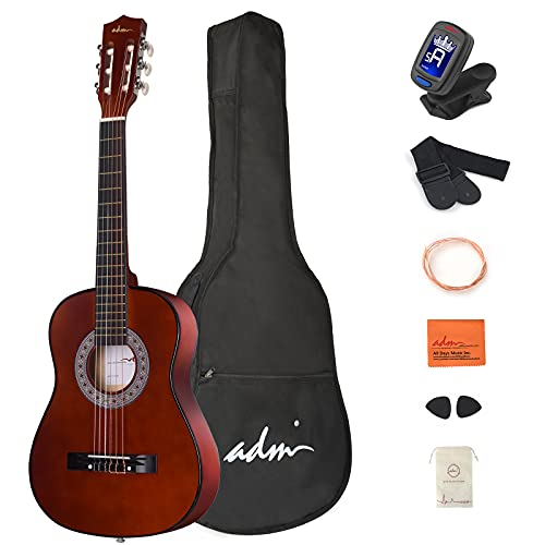 ADM Beginner Acoustic Classical Guitar 1/2 size 34 Inch Nylon Strings Wooden Guitar Bundle Kit for Kids Students with Carrying Bag & Accessories, Glossy-Brown