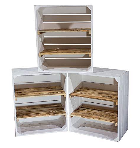 Vintage Möbel 24 GmbH 3X Große weiße/geflammte Obstkiste mit 2 Zwischenböden 61x50x31cm Regal Holzregal Kiste Box