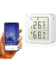 BNTTEAM Smart WiFi Higrómetro de Temperatura Interior al Aire Libre Sensor de Humedad La Alarma Funciona con Alexa Pantalla LCD Digital precisa, Registro de Fecha y alertas
