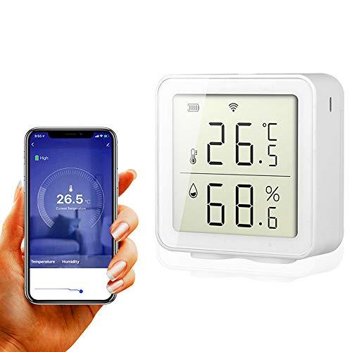 BNTTEAM Smart WiFi Innen-Außentemperatur-Hygrometer Feuchtigkeitssensor Alarm Kompatibel mit Alexa Digital Accurate LCD-Anzeige, Datumsaufzeichnung, Warnungen für Home House Greenhouse Keller Garage
