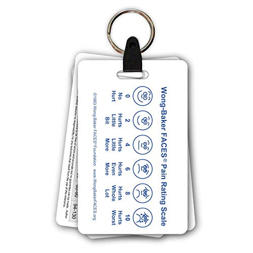 5 Card Pediatric Keychain Badge Pocket Card Reference Set for Nurse Medic (Wong Baker Faces Pain Rating Scale Spanish)