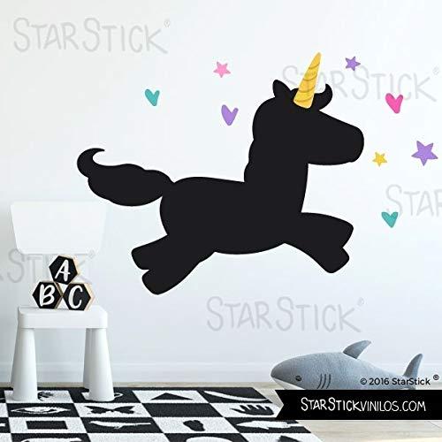 Vinilo pizarra - Unicornio con corazones y estrellas - T3 - Grande
