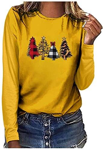 Maglione Ladies Natale Ugly Casual Maglione Moderna Sweater Girocollo Natale con Motivo Albero di Natale di Base della Camicia Dimensioni Dimensioni Inverno Maglione A Maniche Lunghe Donne