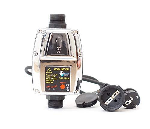 Pumpensteuerung PS-01C Druckschalter Druckwächter für Pumpe Gartenpumpe Hauswasserwerk mit ntegrierten Trockenlaufschutz und Kabel (2x)