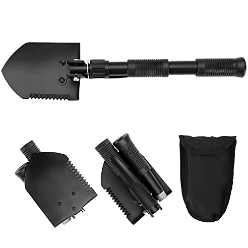Military Folding Shovel is Used for Cross-Country, Camping, Garden, Beach, Excavation, Sand, Dirt and Snow. Heavy Carbon Steel Military Style