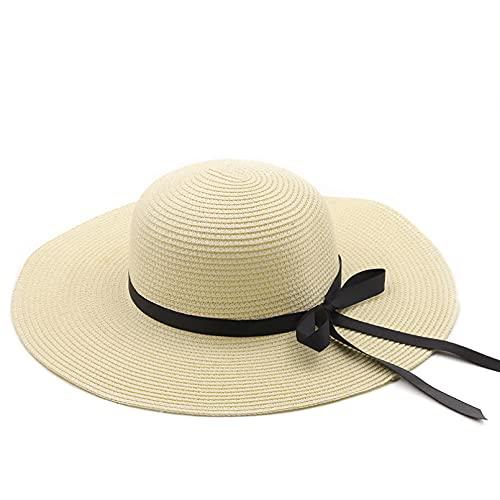 Sombrero Playa Mujer Sombrero Paja Verano para Mujer, Sombrero Playa ala Ancha Grande, Sombrero para el Sol, Bloqueador Solar Plegable, protección UV, Sombrero panamá, Hueso, chapeu Feminino