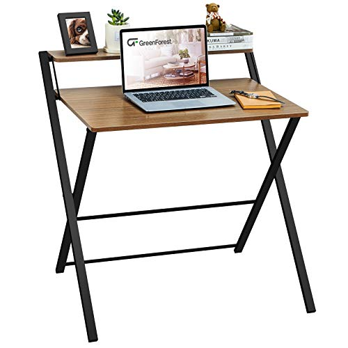 GreenForest Folding Desk No Assembly Required, 2-Tier Small Computer Desk with Shelf Space Saving Foldable Table for Small Spaces, Espresso