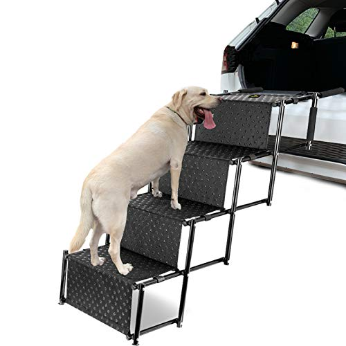 Upgraded Pet Dog Car Step Stairs, Accordion Folding Pet Ramp for Indoor Outdoor Use, Lightweight Portable Auto Large Dog Ladder, Great for Cars, Trucks and SUVs Cargo, Couch and High Bed, 4 Steps
