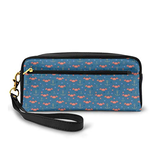 Pencil Case Pen Bag Pouch Stationary,Sea Crabs Stars and Anchors in Cartoon Style Fun Kids Nursery,Small Makeup Bag Coin Purse