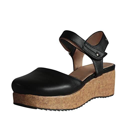 Zapatos Mujer Verano 2019 Sandalias con Puntera Cerrada de Cuña con Plataforma | Loop Fastener | Tacon Alto 6cm | Talla 35-43 | Elegante Romanos Estilo | Playa Fiesta Boda