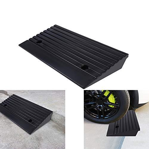 2 Stück Auffahrrampen aus Gummi Auffahrrampen für Rollstuhl Auto, Motorrad, Rampe, langlebig, Schwarz, 48,7 x 24 x 10 cm
