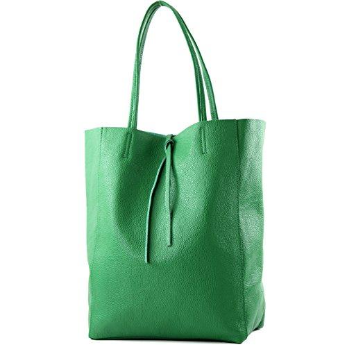 modamoda de - T163 - Ital. Shopper mit Innentasche aus Leder, Farbe:Grün