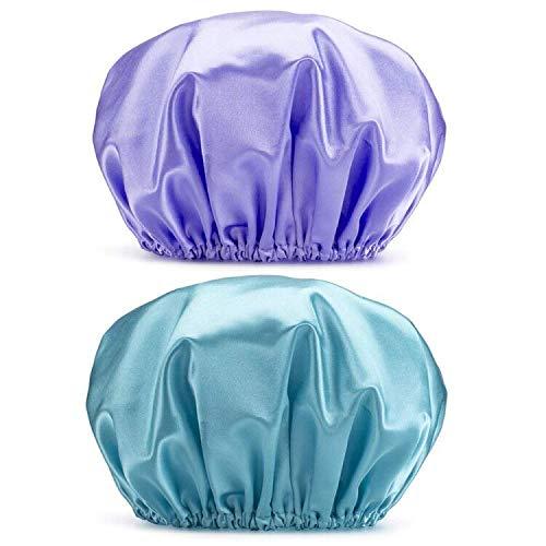 G2PLUS 2 Piezas Gorros de Ducha Impermeables Gorros de Ducha Reutilizables Gorro de Baño Elástico con Doble Capa para Mujeres, Hoteles,Spas de Viaje