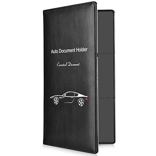 Contact Information Cards Premium PU Leather Wallet Case Car Essential Paperwork Holder for DMV AAA Blue Vehicle Glove Box Document Organizer Auto Insurance /& Registration Card Holder