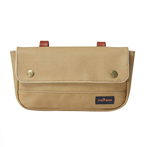 Tourbon Vintage Canvas Bike Panniers Bicycle Handlebar Bag (Khaki)