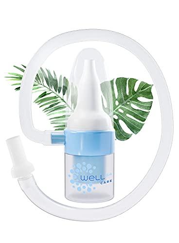 Well B4® Care aspiratore nasale neonato, aspiratore muco senza filtri, irrigatore per pulizia nasale per neonati e bambini, blu