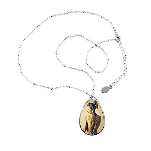 Bohemian estilo Sexy Religión desnudo belleza cuerpo pintura Lady Girl L Forma de Lagrima Colgante Collar Joyas con cadena decoración regalo