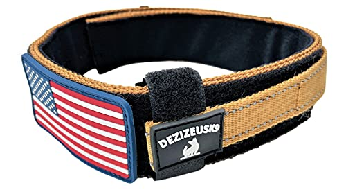 Dog Collar with Control Handle Quick Release Metal Buckle Heavy Duty Military Style Adjustable 2' Width Nylon with USA Flag for Handling and Training Large Canine Male Or Female K9 (729C-TANTAC)