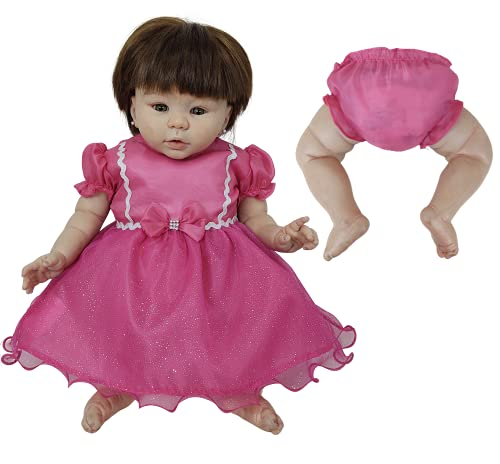 Vestido + Calcinha de Princesas Para Bebê Reborn Roupas de Bonecas (Pink)
