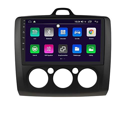 Android 10 Car Radio Stereo con Sistema de Pantalla táctil de 9 Pulgadas para Ford Focus Exi MT 2 3 Mk2 / Mk3 2004-2011, Compatible con navegación GPS SWC Mirror Link WiFi EQ USB Bluetooth (Negro)