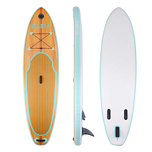 """DAMA Wooden Nature (9'6"""") Inflatable Stand up Paddle Board, Traveling Board, Yoga Board, Floating Paddle, Dual Hand Pump, Leash, for Surfing, Youth & Beginner, All Round Board"""