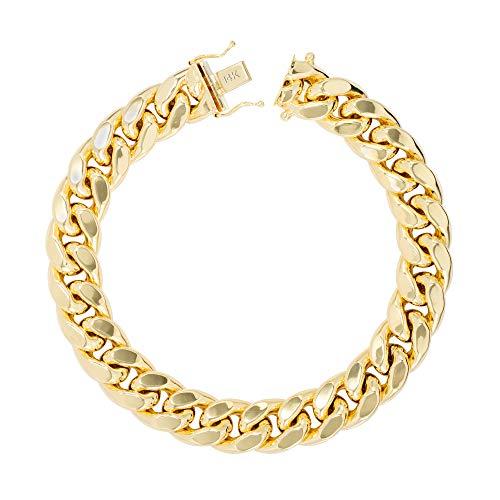 Nuragold los hombres del oro amarillo 14k 12,5 mm hueco miami cubano enlace pulsera de cadena, 8'- 9'