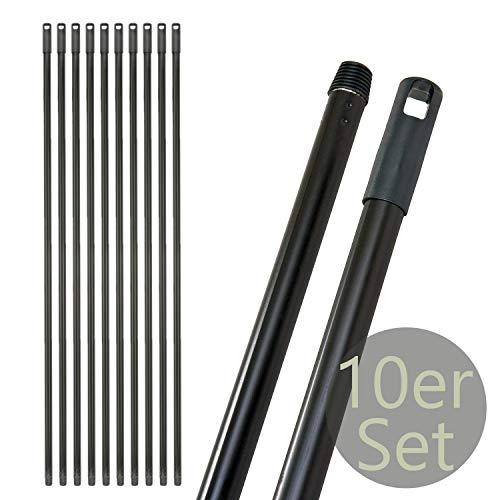 Besenstiel Metall mit Gewinde 24 x 1300 mm | 10tlg. Extra Stark & Stabil | Schwarz