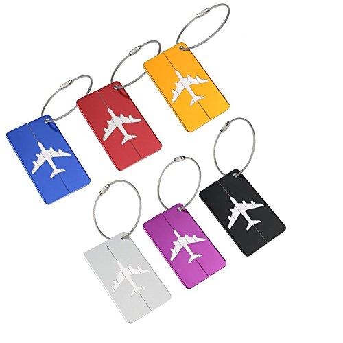 M.Q.L. Bolso de Equipaje de Viaje Equipaje Etiquetas Maleta Aluminio Metal Etiqueta identificacion Identificar Private Tags Etiquetas 6 Colores Diferentes (6