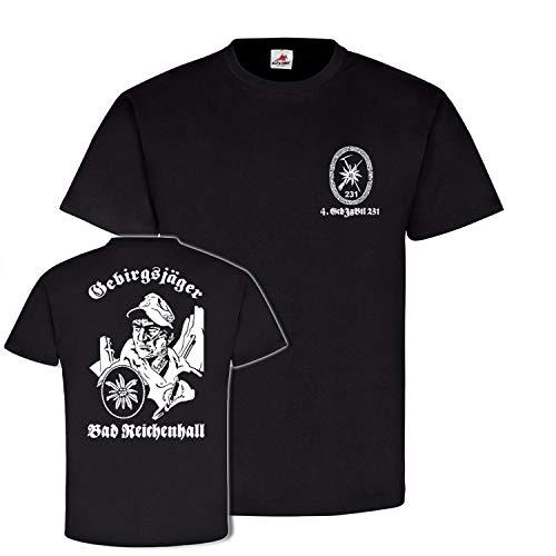 Copytec 4 GebJgBtl 231 Gebirgsjäger Bad Reichenhall Bundeswehr Gebirgsjägerbataillon Kompanie Reservist Edelweiß Abzeichen#21670, Größe:XXL, Farbe:Schwarz