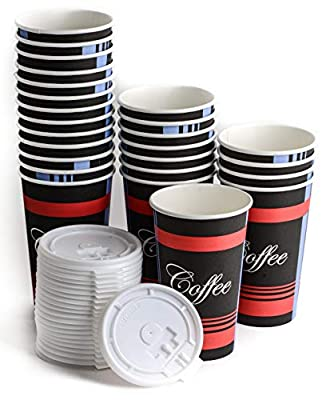 EcoQuality Paper Coffee Cups with White Lids