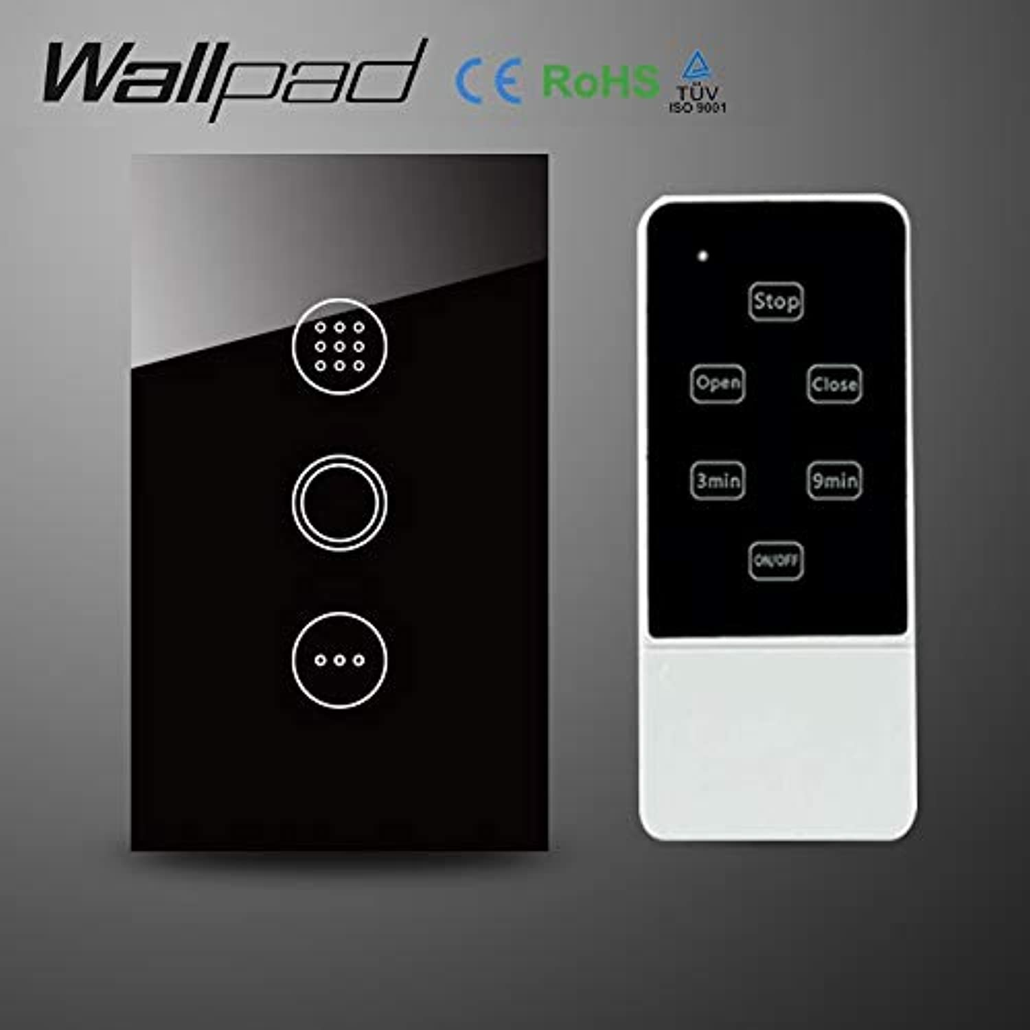 Wallpad 118 US AU Crystal Glass Black WiFi Time Delay Switch,Wireless Remote Control Wall Timmer Touch Switch,