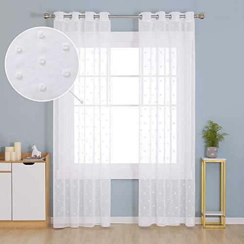 Deconovo Vorhang Schals Voile Gardinen Ösenvorhang Transparent Leinenoptik 229x140 cm Weiß 2er Set
