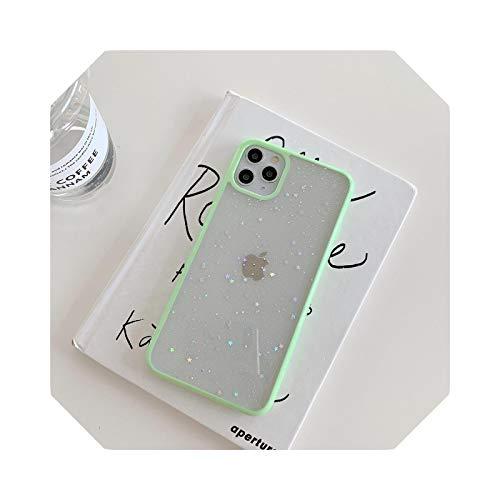 Luxury - Carcasa para iPhone 12 11 Pro Max XR XS Max X 7 8 Plus se 2020 12 Mini Cute Star Lentejuelas Shell-Light Green-for iPhone X