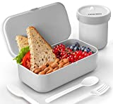 Bento Box Set For Adults Kids, HOKEKI 50oz BPA-Free Lunch Box with Cutlery Food Storage Container with Leak-Proof Sealed Cup for Work/School Lunch Packing and Meal Prep(Gray)