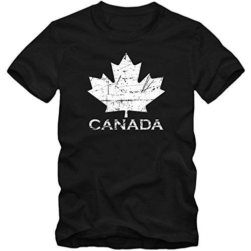 Kanada Vintage T-Shirt Herren Ahornblatt Canada CAN Maple Leaf Flag Vancouver XS-5XL, Farbe:Schwarz (Deep Black L190);Größe:XXL