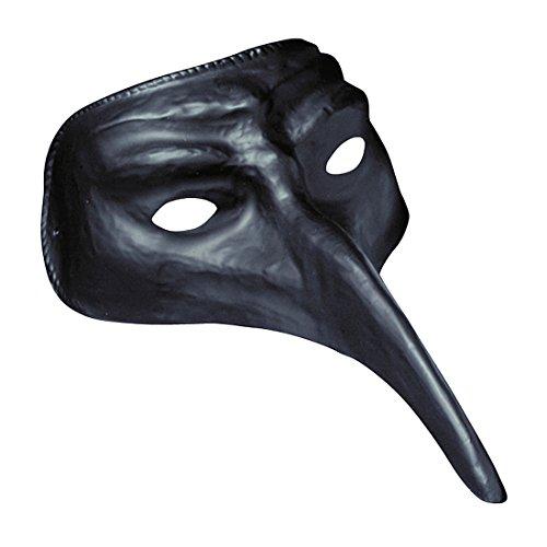 Amakando Venezianische Maske Pestmaske schwarz Schnabelmaske schwarzer Tod Augenmaske mit Langer Nase Karneval Venedig Rabenmaske Maskenball