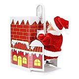 HomeDecTime Precioso Juguete de Regalo con Música para Navidad Que Sube a La Chimenea de Papá Noel,