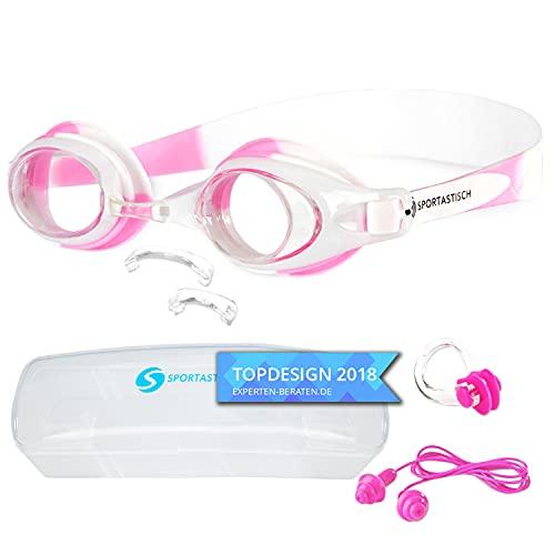 """Sportastisch Kinder Schwimmbrille """"Swim Talent"""" mit austauschbarem Nasensteg für Kids 4-14 Jahren mit Antibeschlag UV-Schutz, Junior Design mit Ohrstöpsel Nasenclips, bis zu 3 Jahren Garantie*"""