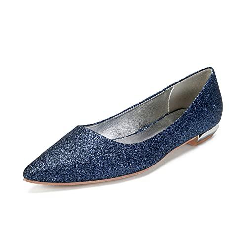 NYPB Slip-on Nupcial Sandalias de Boda para Mujer Planos Tobillo Bailarinas Zapatos Vestir Zapatos de Punta Puntiaguda con Purpurina,Dark Blue,41 EU