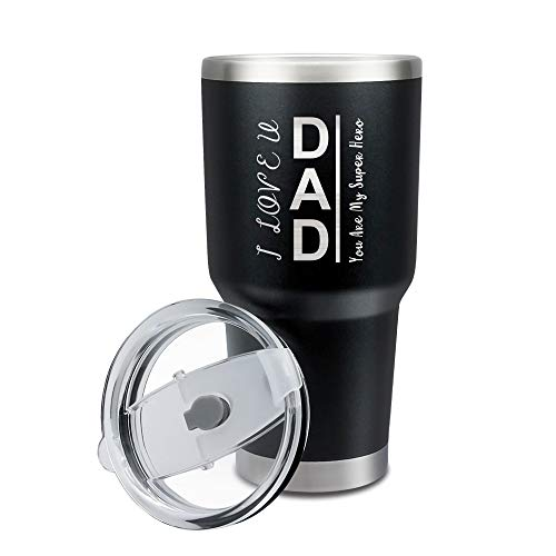 30oz Personalized Dad Coffee Tumbler for Dad Birthday, Stainless Steel Travel Coffee Tumbler for Men Dad, Best Insulated Coffee Travel Mug, Tumbler 30oz Bulk, Thermal Cup with Spill Proof Lid, Black